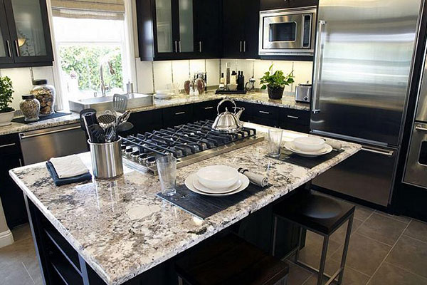 Black Accents In Kitchen, Distressed Black Cabinets With Granite Countertops
